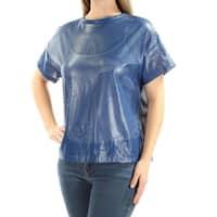 ANNE KLEIN Womens Blue Short Sleeve Crew Neck Top  Size: 8