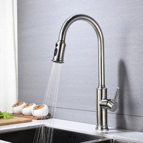 Single Handle Pull Down Kitchen Faucet - Brushed Nickel