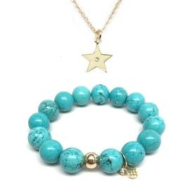 Turquoise Magnesite Bracelet & CZ Star Gold Charm Necklace Set