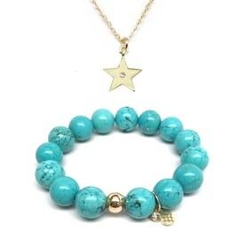 Turquoise Magnesite Bracelet & CZ Star Gold Charm Necklace Set