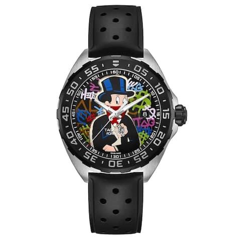 Tag Heuer Men's WAZ1117.FT8023 'Formula 1 Alec Monopoly Limited' Black Rubber Watch - Multi