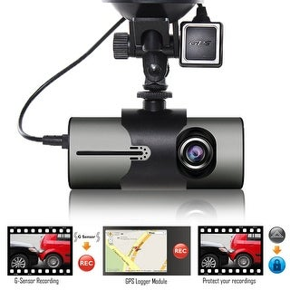 "Indigi XR300 Dash Cam 2.7"" LCD DVR + GPS Module & Google Maps on Review + Dual Lens (Front & In-Cab Recording)"