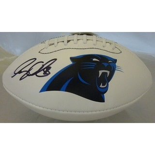 Greg Olsen Autographed Carolina Panthers White Panel Logo Football JSA