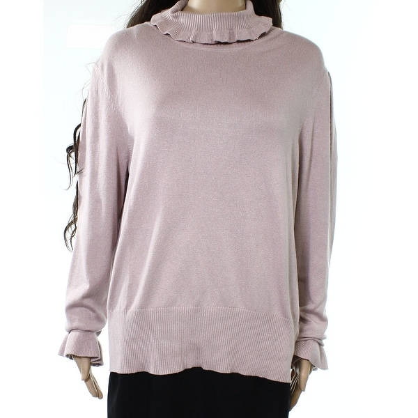 Shop Joseph A New Light Pink Womens Size Xl Ruffled Turtleneck