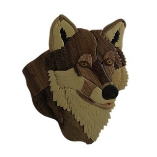 Hand Carved Intarsia Wolf Head Wood Art Wall Hanging - brown