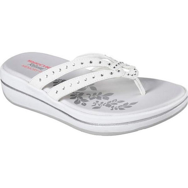 e661d5633034b4 Shop Skechers Women s Relaxed Fit Upgrades Be Jeweled Thong White ...