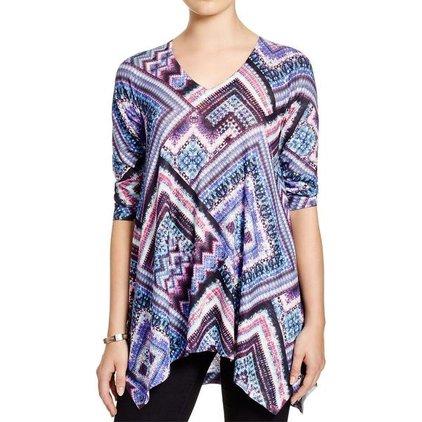 Nally & Millie Womens Tunic Top Knit Printed