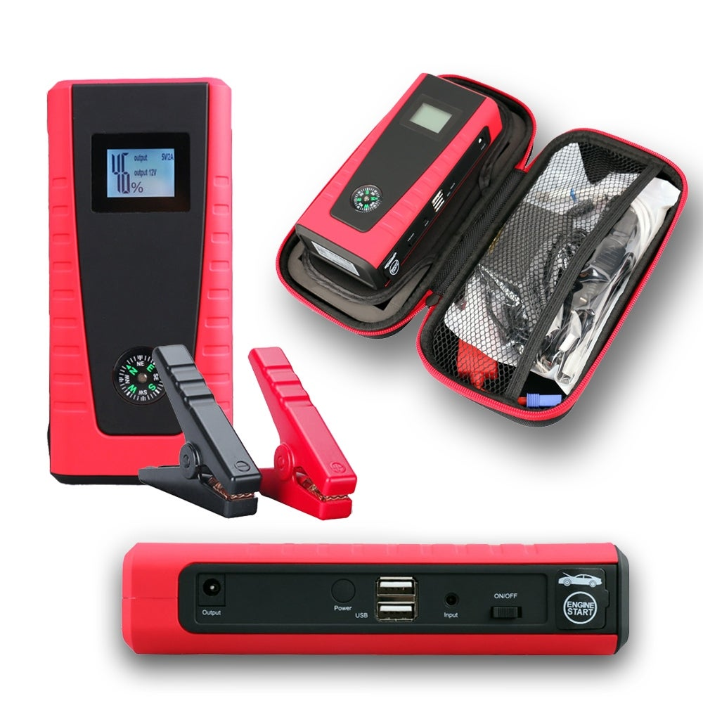 Indigi® 12000mAh HeavyDuty Rugged Portable Automotive Jump Starter PowerBank w/ USB Charging Port & LED Flashlight - Black/Red - Thumbnail 0