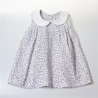 Peter Pan Collar Girl Dress - White With Flower Prints, 12 -18
