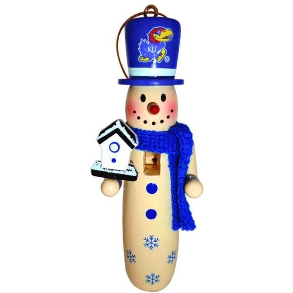 6 NCAA University of Kansas Jayhawks Wooden Snowman Christmas Ornaments 6 - BLue