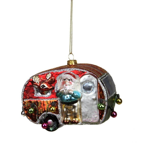 "4.5"" Camper Van Trailer with Santa and Reindeer Glass Christmas Ornament"