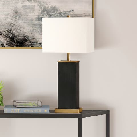 Tamara Hand-Painted Blackened Bronze Table Lamp with Brass Accents