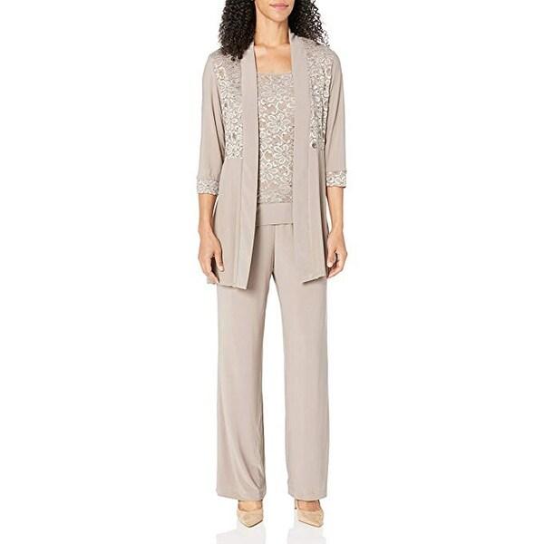 R&M Richards Women's Lace Pant Set, Mocha, 6