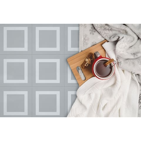 8x8 Graphic Grey Square Porcelain Floor and Wall Tile (3.88 Sq. Ft./ 9 pcs per box)