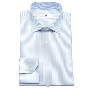 Pierre Balmain Men Slim Fit Cotton Dress Shirt Stripe White Blue