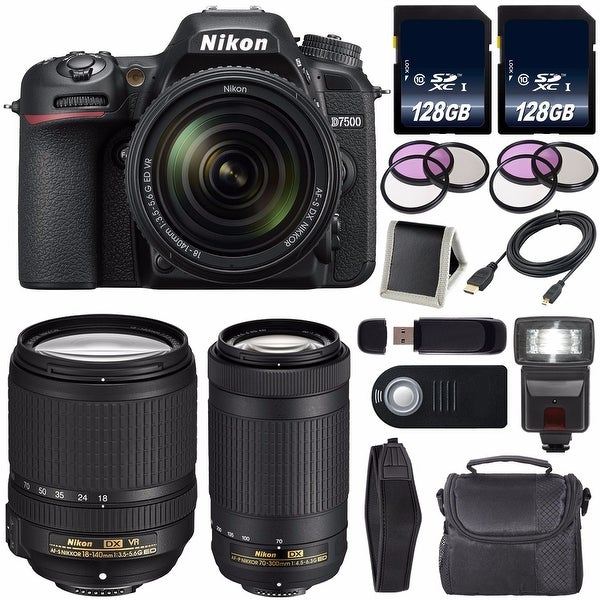 Nikon D7500 DSLR Camera with 18-140mm Lens International Model + Nikon AF-P DX 70-300mm f/4.5-6.3G ED Lens Carrying Case Bundle