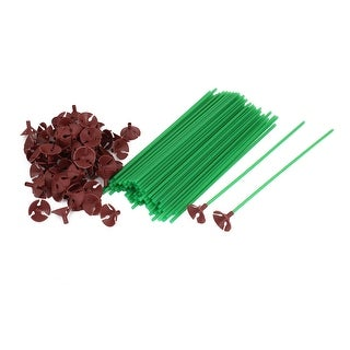 Unique Bargains 100 x Household Celebration Plastic Green Balloon Sticks Cups Red