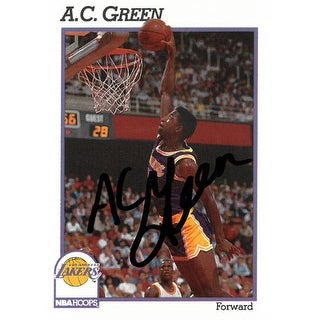 AC Green Signed Los Angeles Lakers 19901991 NBA Hoops Basketball Trading Card 100