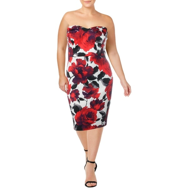 B. Darlin Womens Plus Bodycon Dress Floral Print Strapless - Off White/Red/Black. Opens flyout.