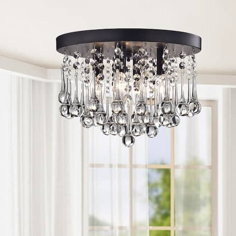 Claudia 4-Light Black Flush Mount with Clear Crystal Drops
