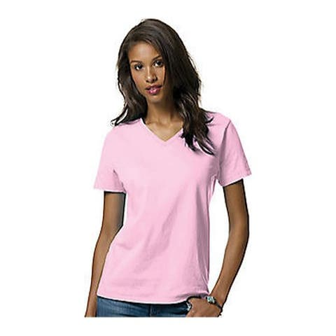 Hanes Women's Relax Fit Jersey V-Neck Tee 5.2 oz (Set of 4) Pale Pink