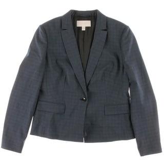 BOSS Hugo Boss Womens Junali Wool Glen Plaid One-Button Blazer - 10