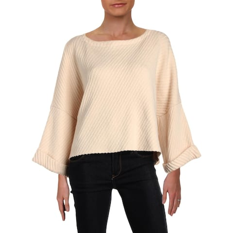 Free People Womens I Cant Wait Crop Sweater Oversized Off-The-Shoulder