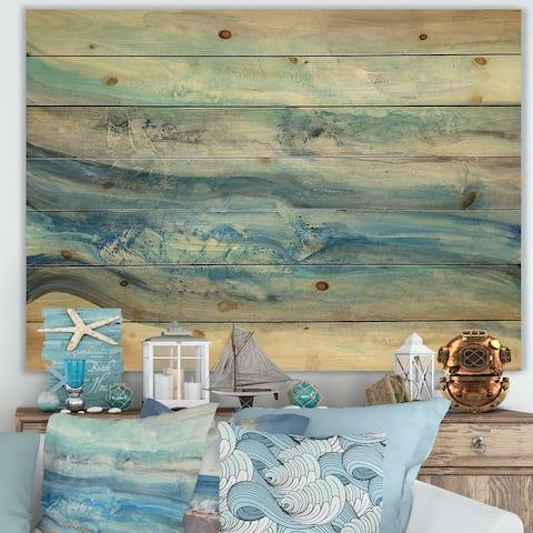 Designart 'Ocean Mineral Waves' Nautical & Coastal Print on Natural Pine Wood - Blue