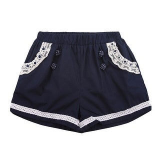 Richie House Girls' Shorts with Polka Dot Buttons and Lace Accents