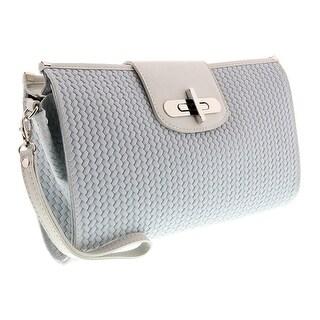 HS1156 BI CORA White Leather Clutch/Shoulder Bag