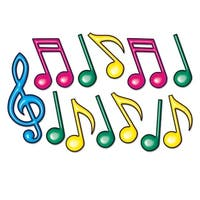 """Club Pack of 144 Fun Double Sided Neon Musical Notes Silhouette Decorations 21"""" - Blue"""