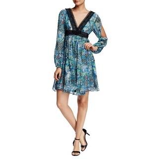 Betsey Johnson Open Sleeve Crochet Trim Printed Chiffon Gypset Dress Blue
