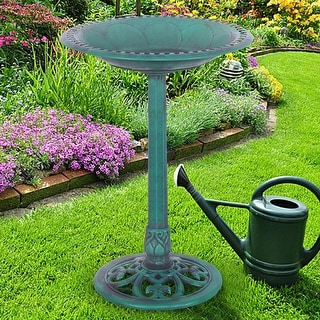 Costway Green Pedestal Bird Bath Feeder Freestanding Outdoor Garden Yard Patio Decor