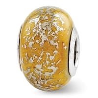 Italian Sterling Silver Reflections Yellow with Platinum Foil Ceramic Bead (4mm Diameter Hole)