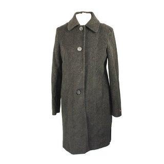 Anne Klein Petite Charcoal Wool-Blend Walker Coat P - 10P