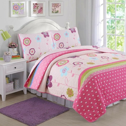 Cozy Line Pink Flower Garden Girl Quilt Set