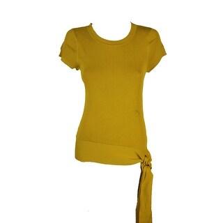 Inc International Concepts Gold Short-Sleeve Tie-Hem Sweater L