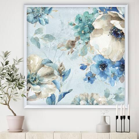 Designart 'Indigold Watercolor Lovely bird III' Farmhouse Premium Framed Art Print