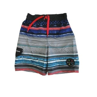 Maui Little Boys Blue Black Adjustable Waist Swimwear Shorts