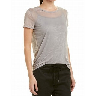 James Perse Gray Womens Size 4 Crewneck Sheer Solid Knit Top