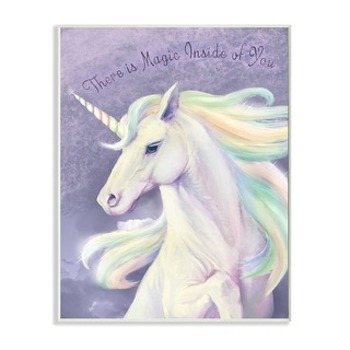 Link to Stupell Industries Magic Inside of You Inspirational Unicorn Quote Purple Pink Wood Wall Art Similar Items in Wood Wall Art