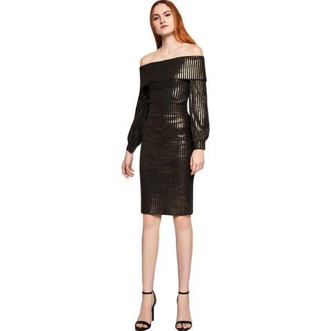 BCBGeneration Womens Pencil Skirt Metallic Striped