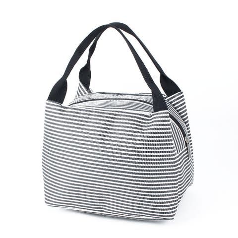 Outdoor Portable Stripes Cooler Lunch Bag Picnic Box Carry Tote Container Black