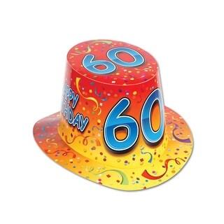 Club Pack of 25 Orange and Yellow ''Happy 60 Birthday'' Hi-Hats