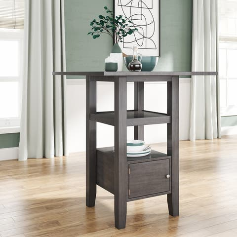 Counter Height Wood Kitchen Dining Table with Storage Cupboard and Shelf for Small Places Gray - dining table
