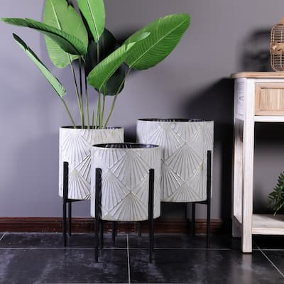 Three Piece Grey and Gold Metal Planters with Black Stand