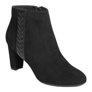 A2 by Aerosoles Women's Avenue A Bootie Black Faux Suede/Leather