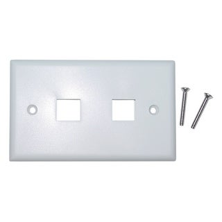 Offex Keystone Wall Plate, White, 2 Hole, Single Gang