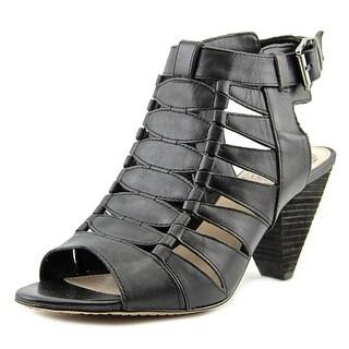 Vince Camuto Elika Women  Open-Toe Leather Black Slingback Heel