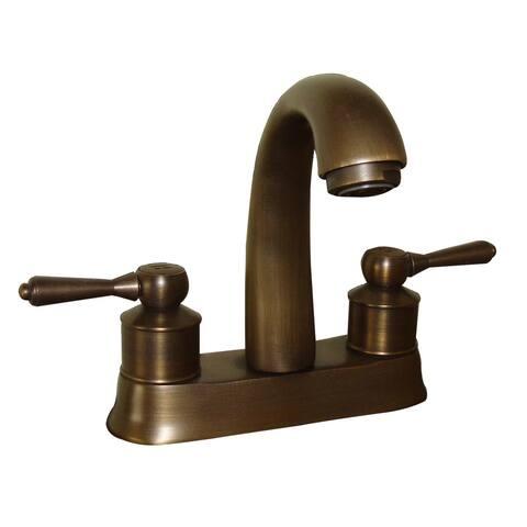"Antique Brass Centerset Bathroom Faucet Two Heavy Duty Handles 4"" Unique Hot And Cold Standard Crane Neck Design"